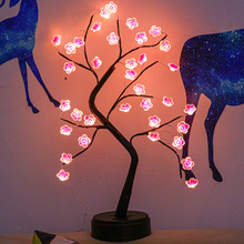 LED Cherry Blossoms Tree Night Light Copper Wire Garland Lamp For Home Kids Bedroom Decoration Luminary Holiday Lighting