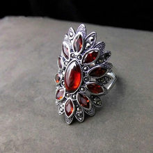 Luxury Female Ruby Geometric Finger Ring Vintage Sterling Silver Adjustable Ring Fashion Wedding Engagement Rings For Women(China)