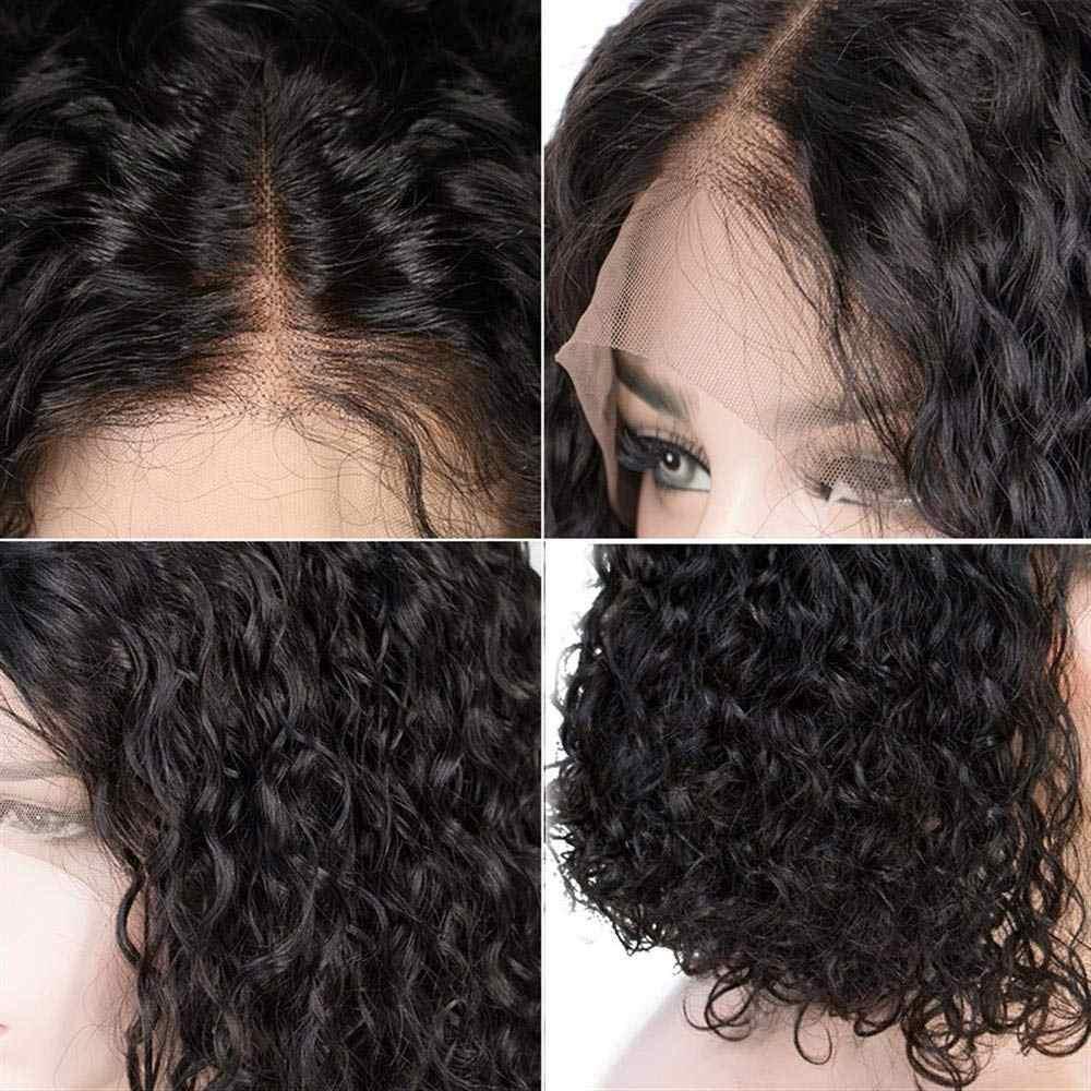 Pelucas de cabello humano rizado profundo Bob sin pegamento 13X4 frente de encaje Remy pre-arrancado con pelo de bebé Peluca de Bob corto de onda profunda para mujeres negras