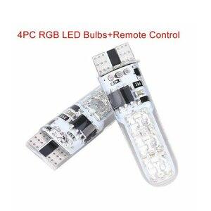 Image 5 - 뜨거운 판매 4PC 5050 W5W 6SMD RGB LED 멀티 컬러 라이트 자동차 웨지 전구 원격 제어