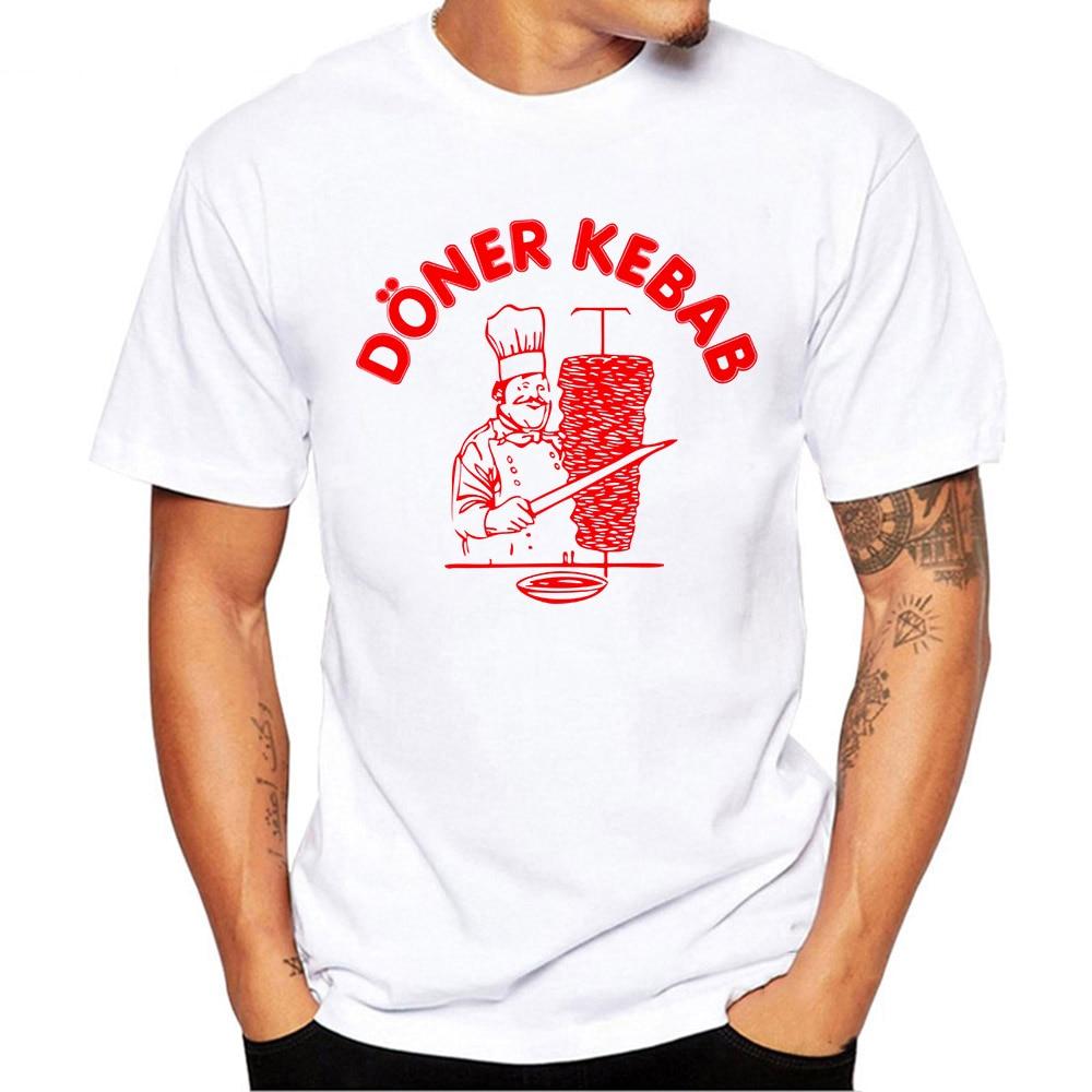 Summer Short Sleeve T Shirts Doner Kebab Graphic Funny Tee Shirt Kebab T-Shirts Men's Premium T-Shirt White Tops Clothes