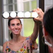 5 Bulb Hollywood Led Makeup Mirror Light 3-color Stepless Dimmable Dressing Vanity Table Bathroom Wall Lamp Battery Powered(China)