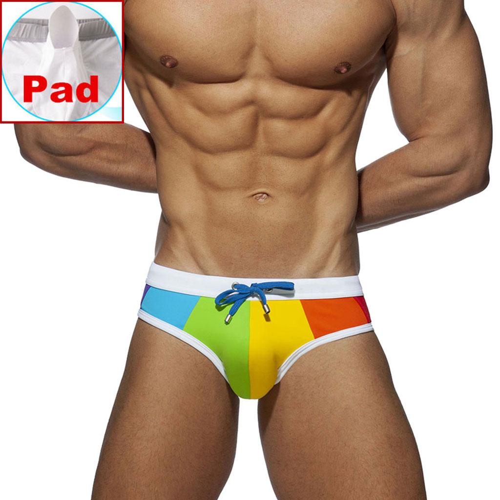 Gay Swimwear Men Push Up Rainbow Swim Briefs Trunks Mens Sexy Underwear Swimsuit Swimming Trunks Suring Bikini Beach Shorts
