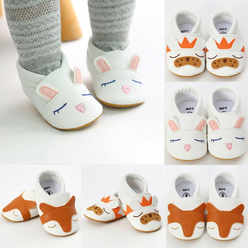 New Baby Boy Girl Pre-Walker Soft Faux Leather Soft Crib Pram Shoes Prewalker 0-18M