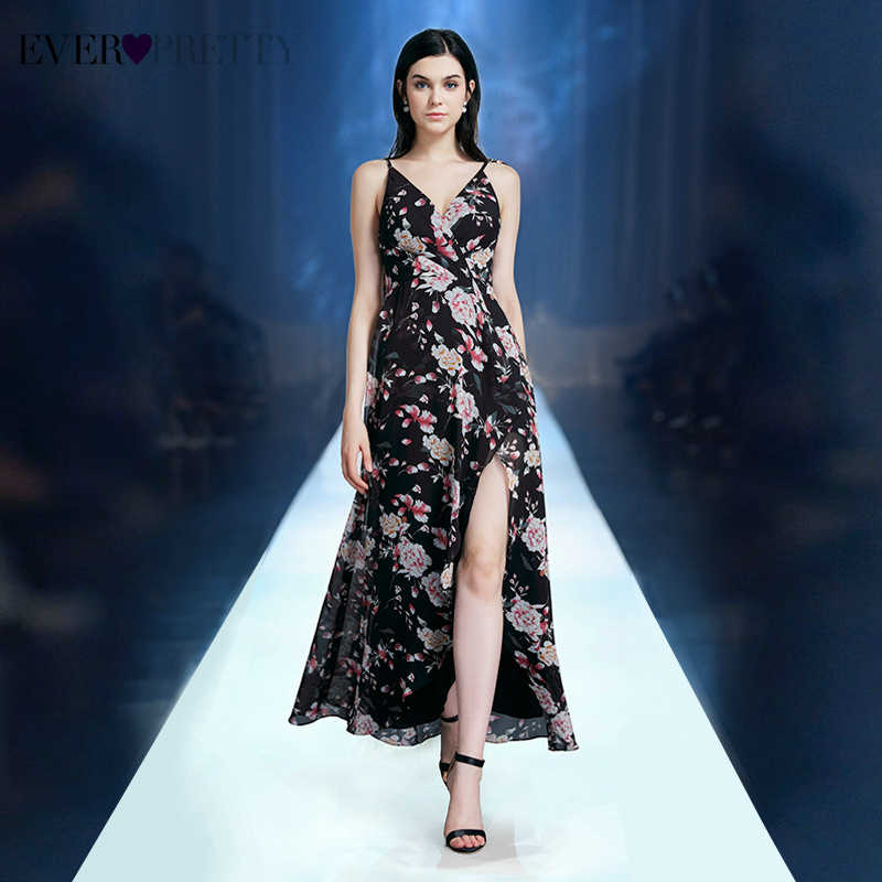 Sexy Floral Printed Evening Dresses Ever Pretty EP07329BK A-Line Spaghetti Straps V-Neck Side Split Evening Gowns Robe De Soiree