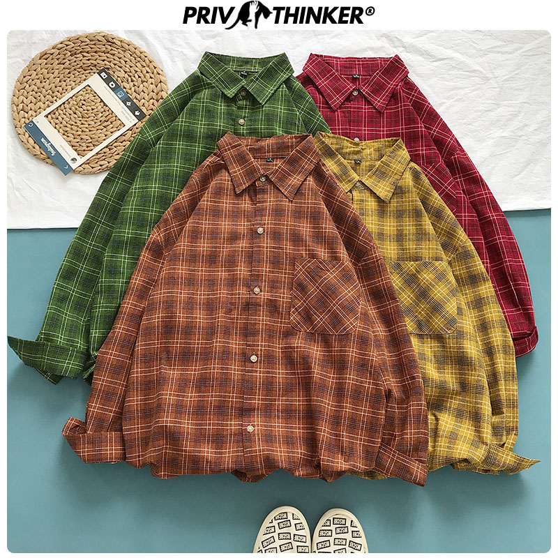 Privathinker 2019 Autumn Office Women's Shirt Casual Style Collage Female Blouses Long Sleeve Plaid Shirts Colorful Korean Tops