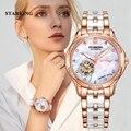 Saatler'ten Kadın Saatleri'de STARKING 34mm otomatik izle gül altın çelik kasa Vogue elbise saatler İskelet şeffaf İzle kadınlar mekanik kol saatleri