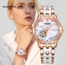 STARKING montre automatique, couleur or Rose, boîtier en acier, Transparent, squelette, Transparent, boîtier en acier, pour femmes, 34mm