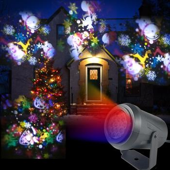 16 Patterns New Year LED Laser Projector Light Christmas Snowflake Elk Projection Lamp Disco Stage Light For Party KTV Bars 16 patterns christmas led projector light new year laser snowflake projection stage light waterproof home garden lawn lamp