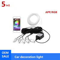 LED RGB Strip Ambient Light Bluetooth Application Control For Car Interior Decoration Light Lamp 8 Colors DIY Music 6M Fiber Opt