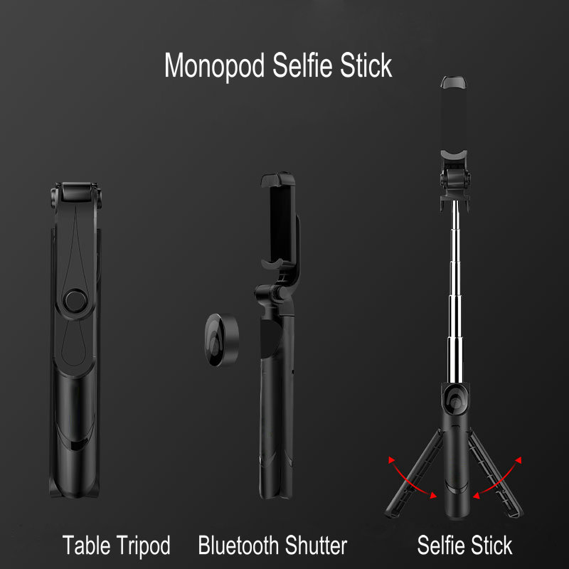 3 In 1 Selfie Stick Phone Tripod Extendable Monopod with Bluetooth Remote for Smartphone Selfie Stick 4