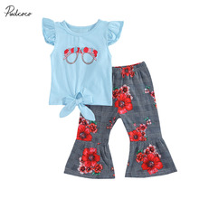 Kids Baby Girls Summer Casual Floral Print Round Neck Fly Sleeve T-Shirt + Flared Trousers 2pc Set 0-5Y цена 2017