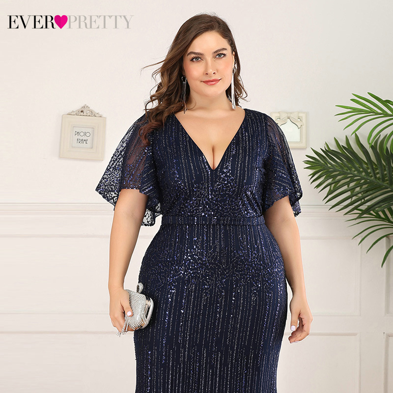 Plus Size Sparkle Prom Dresses Ever Pretty EP00838 Seuqined Ruffles Sleeve V Neck Elegant Mermaid Pary