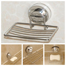 Metal Strong Suction Bathroom Shower Chrome Accessory Soap Dish Holder Tray bathroom accessory set
