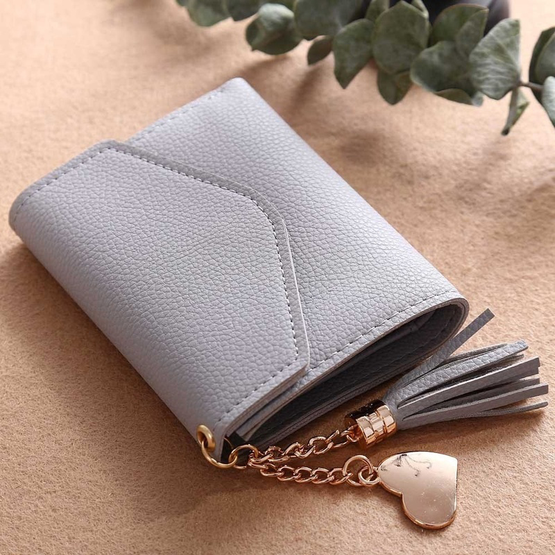 Women's Wallet Cute Student Tassel Pendant Short Wallet Trend Small Fashion PU Wallet 2020 Coin Purse Ladies Card Bag For Women