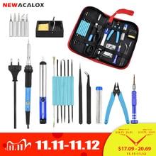 Newacalox kit de ferramentas de solda, conjunto de ferro de solda com chave de fenda, alicates de fio de lata, bomba de dessoldagem, saco de armazenamento