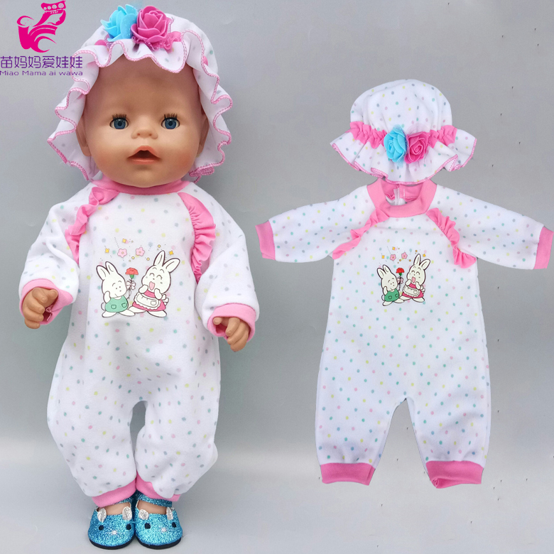 Baby New Born Doll Rompers With Hat 18 Inch Doll Clothes Coat Jeans Suit
