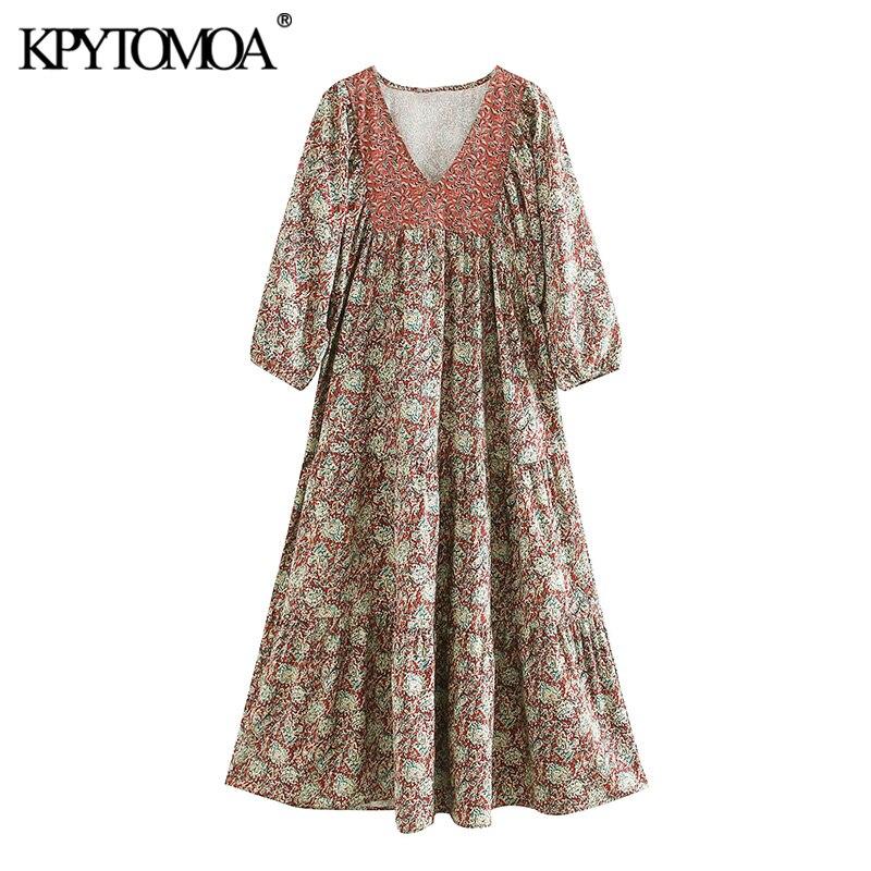 KPYTOMOA Women 2020 Chic Fashion Print Patchwork Midi Dress Vintage V Neck Three Quarter Sleeve Female Dresses Vestidos Mujer