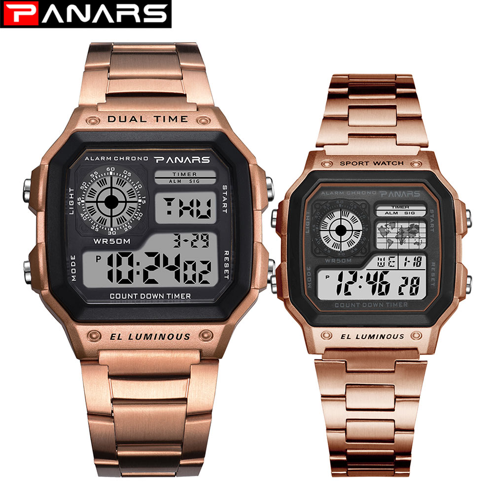 PANARS Couples Watches Waterproof Sport Watch Stainless Steel Digital Wristwatches Clock Relogio Masculino Erkek Kol Saati
