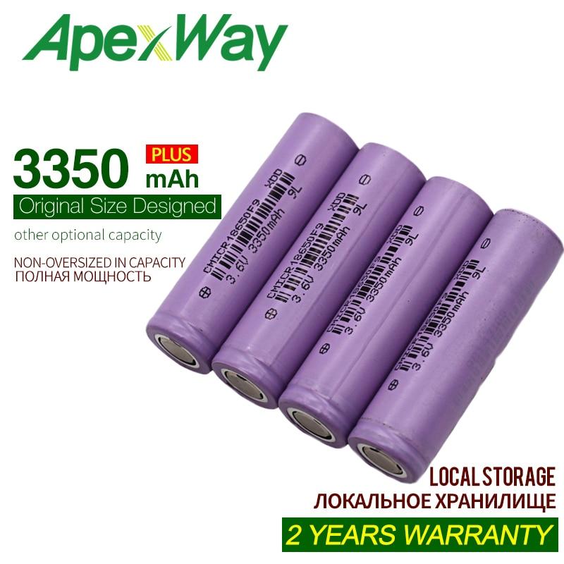 ApexWay 4PCS 3.6V 3350mAh 18650 Rechargable Battery Cells Discharge CMICR18650F9 Li-ion 3.6V +box