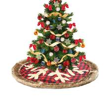 Christmas Tree Skirt Big Snowflake Red Plaid New Year Christmas Party Decoration(China)