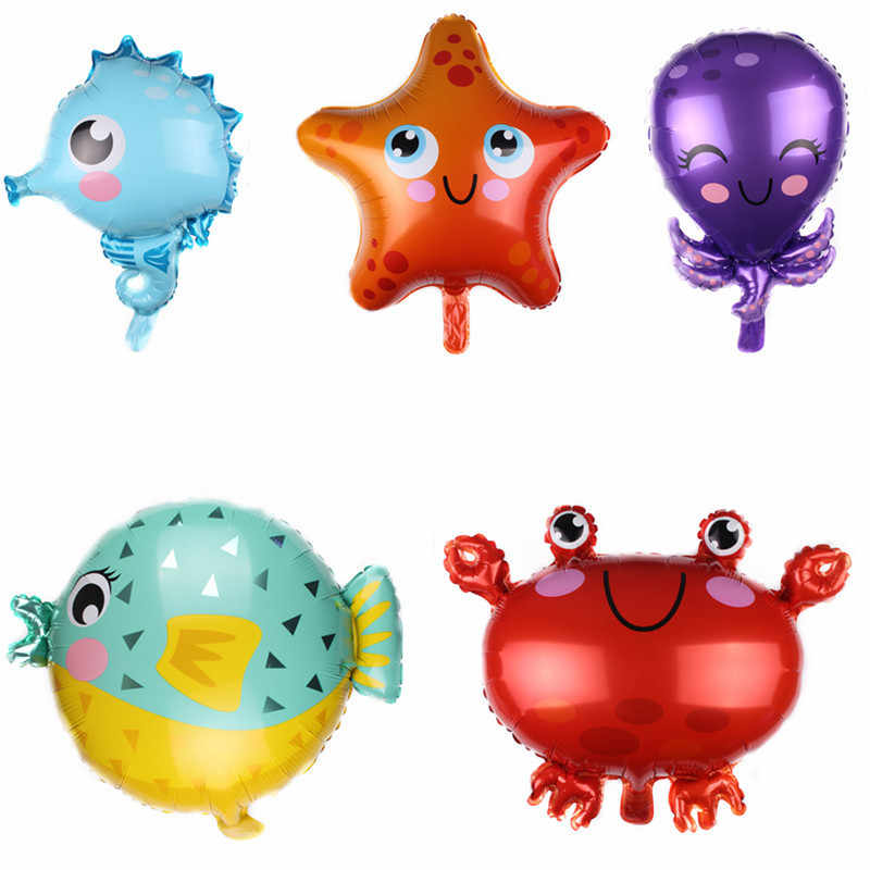 1Pc Sea Fish Folie Ballonnen Cartoon Dier Krab Zeester Zeepaardje Octopus Verjaardagsfeestje Baby Gift Kinderkamer Decor Golob levert