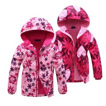 Jacket For Girls 2020 Spring Children's Flower Fleece Clothes Girls Coat Windbreaker Outerwear Kids Polar Fleece Windproof 3-12T 1