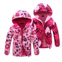 ジャケット 2020 春子供の花フリース服ガールウインドブレーカー上着子供フリース防風 3-12 t