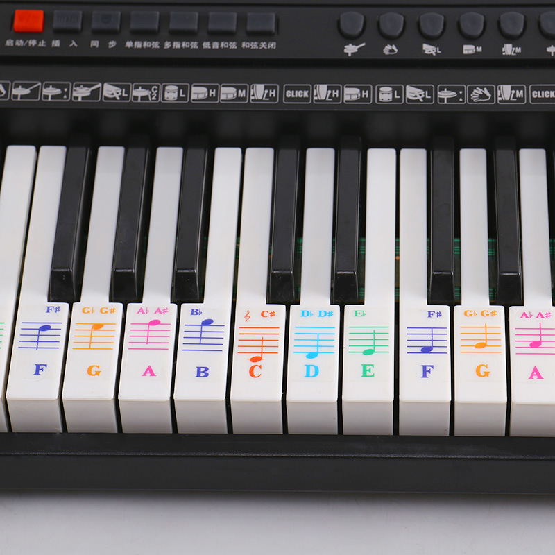 49/61/76/88 Key Electronic Piano Keyboard Sticker Music Learner Stave Note Decal