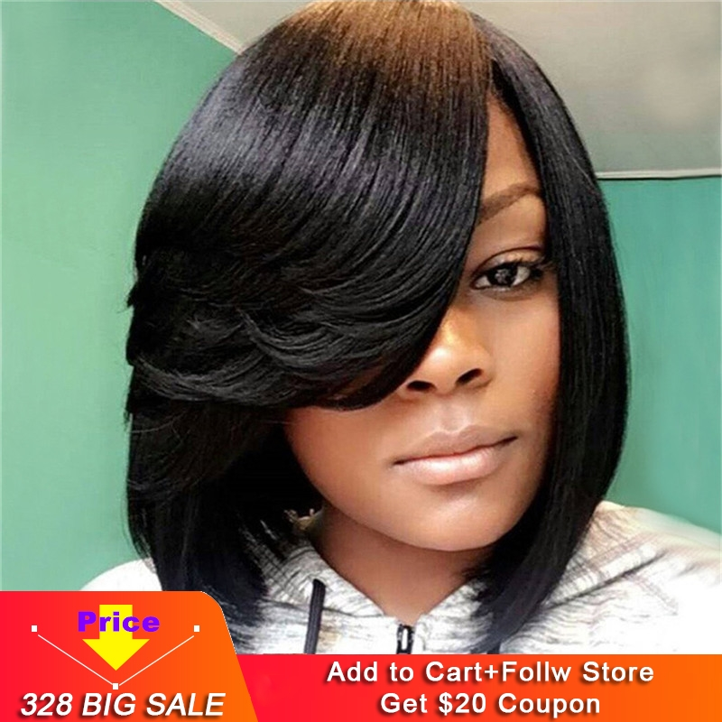 Eseewigs Short Bob 13x4 Lace Front Human Hair Wigs For African American Women Natural Black Brazilian Remy Hair With Bangs