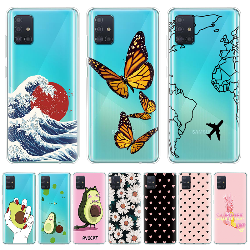 Case For Samsung Galaxy A51 Case Soft Silicon Transparent Back Cover For Samsung A51 A515 Protective Bumper Coque 6.5Inch Summer