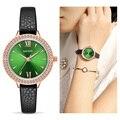 MEGIR  женские часы  Reloj Mujer  зеленое лицо  кожаный ремешок  роскошные бриллиантовые женские часы  женские часы  Relogio Feminino Zegarek Damski