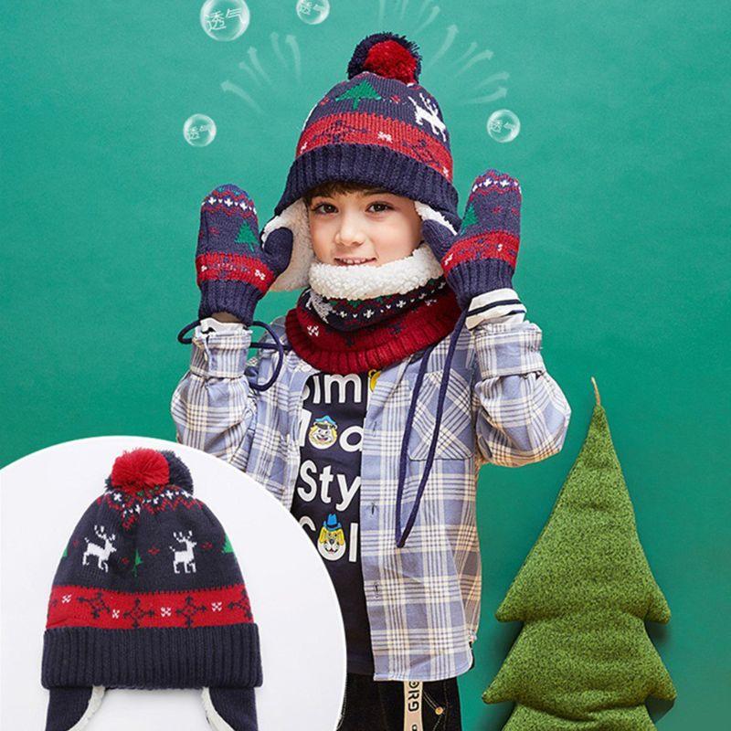 Toddler Kids Christmas Contrast Color Pompom Earflap Hat Scarf Gloves 3 Pcs Set 40JF