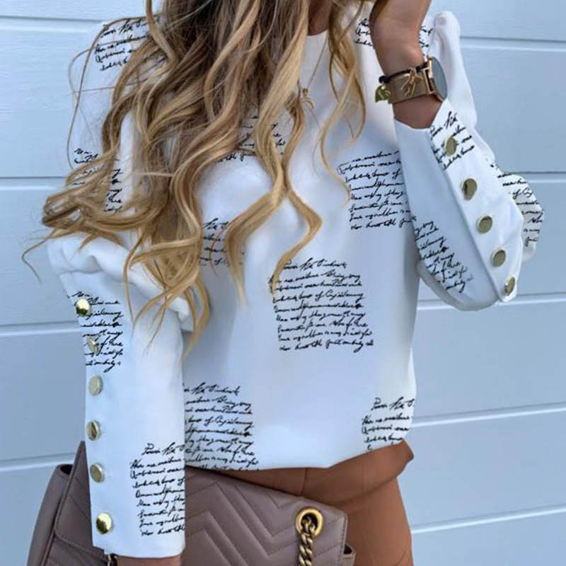 Letter Print Blouse Shirt Women Back Button Puff Sleeve Fashion Woman Blouses 2020 Long Sleeve Womens Tops and Blouse Top Female