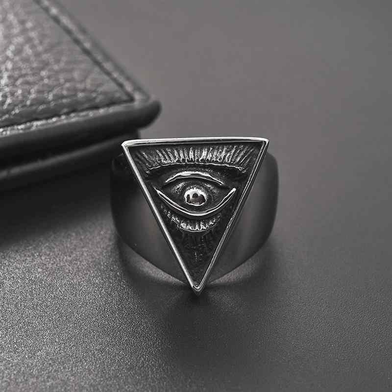 Jiayiqi Gothic Punk แหวนเรขาคณิต Retro Devil Evil Eye แหวนเงินสแตนเลส Halloween Party Props ชายเครื่องประดับของขวัญ