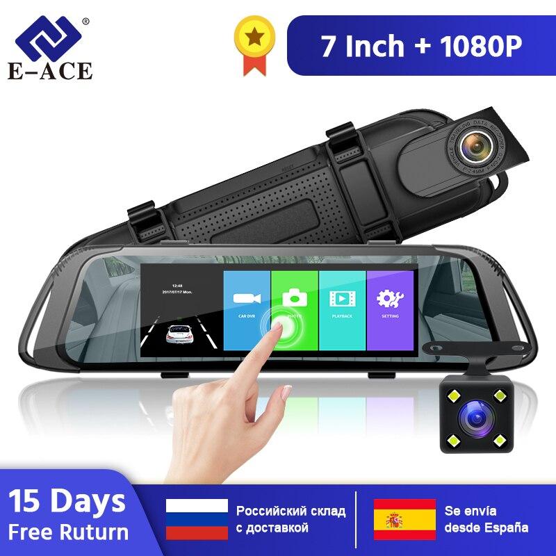 E-ACE Car DVR 7.0 Inch Touch Video Recorder Mirror Camera FHD 1080P Dual Lens With Rear View Camera Auto Registrator Dash Cam