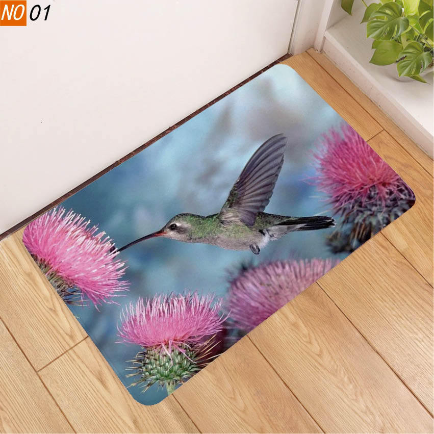 3D Printing Floor Mat Hummingbird Green Tree Frog Pad Non-slip Originality Christmas Doormat Floor Table Cushion Room Carpet