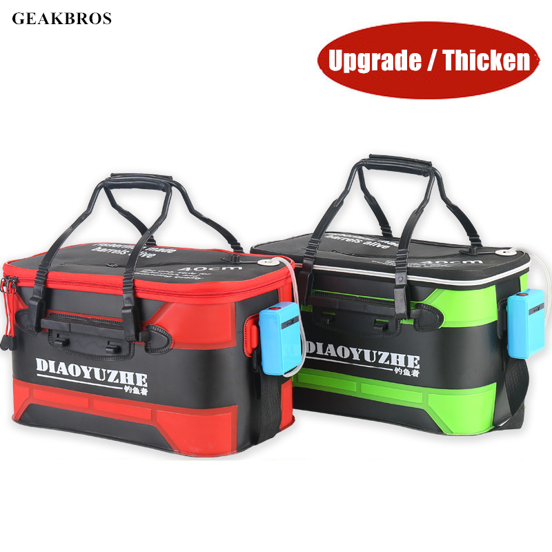 Upgrade Portable Fishing Bag Folding EVA Fishing Bucket Live Fish Box Hand Outdoor Waterproof Bucket Camping Hiking Bag Storage