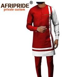 Классический комплект одежды для мужчин в африканском стиле Дашики пальто брюки из Анкары комплект из 2 предметов с длинным рукавом размера...