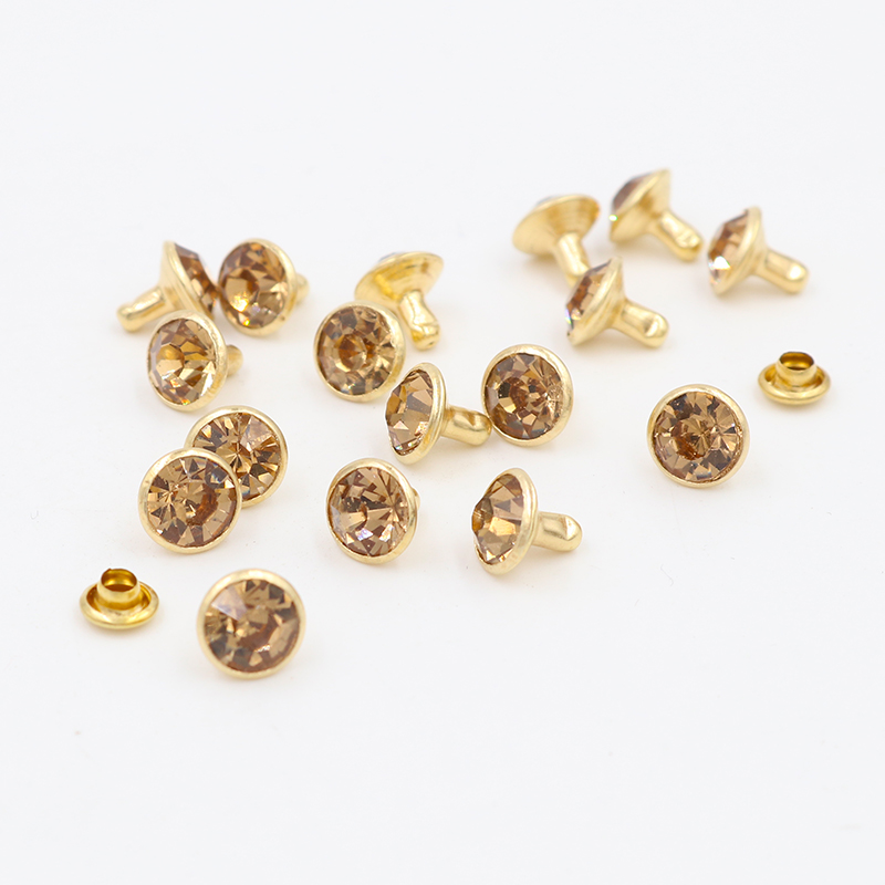 100x 8mm AB Crystal Rhinestone Rivets Golden Base Rapid Studs Leathercraft Rivet