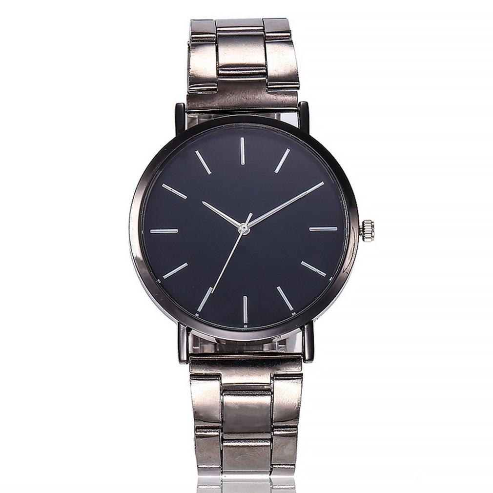 Fashion Trendcy New Men Women Quartz Watch Wristwatch Stainless Steel/Leather Belt Simple Pattern Round Dial Wrist Quartz Watch