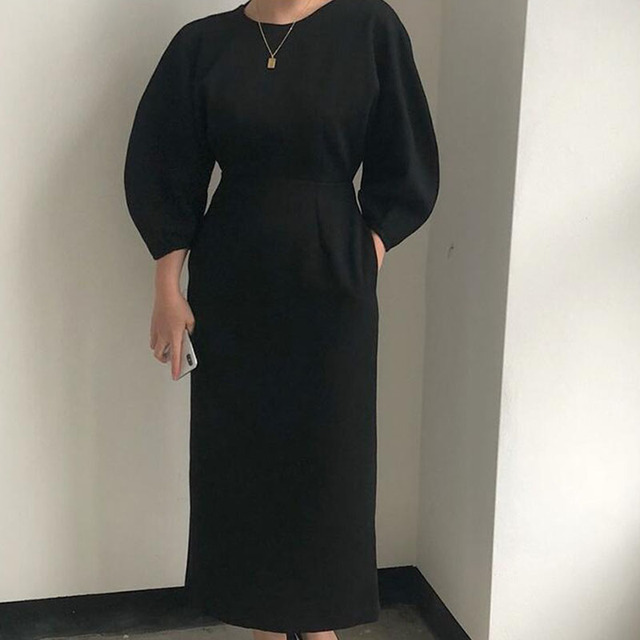 Sister Fara New Spring Elegant O-Neck Dress Ladies Office Fashion Sexy Solid Dress Women Autumn Slim Midi Dress Vestidos OL 2021 4