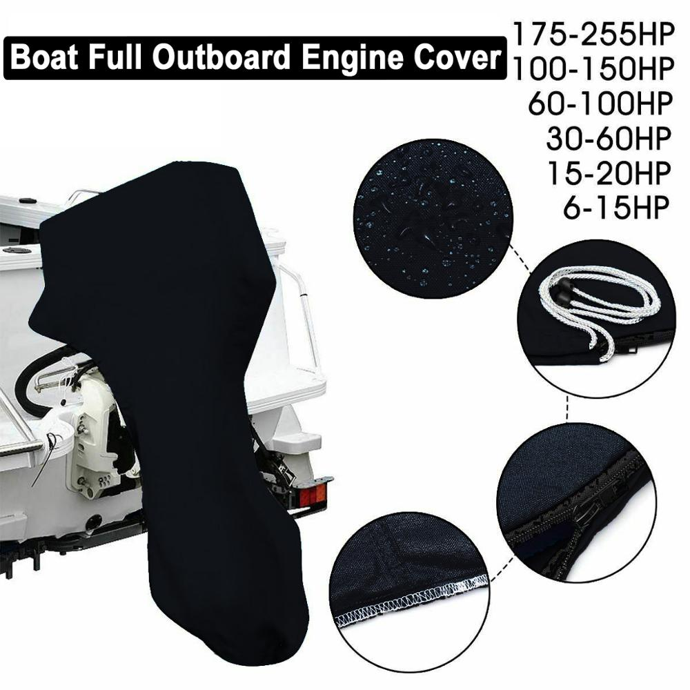 Outboard Engine Boat Full Motor Cover Engine Protection Waterproof For 6 - 225HP Outdoor Accessory Tools Black