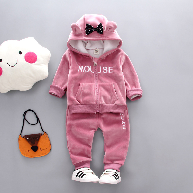 Baby Girls Winter Clothing Set 2020 Toddler Kids Miki Outfits Children Fleece Warm Zipper Mouse Clothes Costume Suit 2 3 4 Years(China)