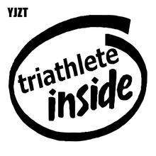 YJZT 17.7 CENTÍMETROS * 16CM Triatleta Dentro Vinil Decalques Do Carro Acessórios Preto/Prata C31-0483