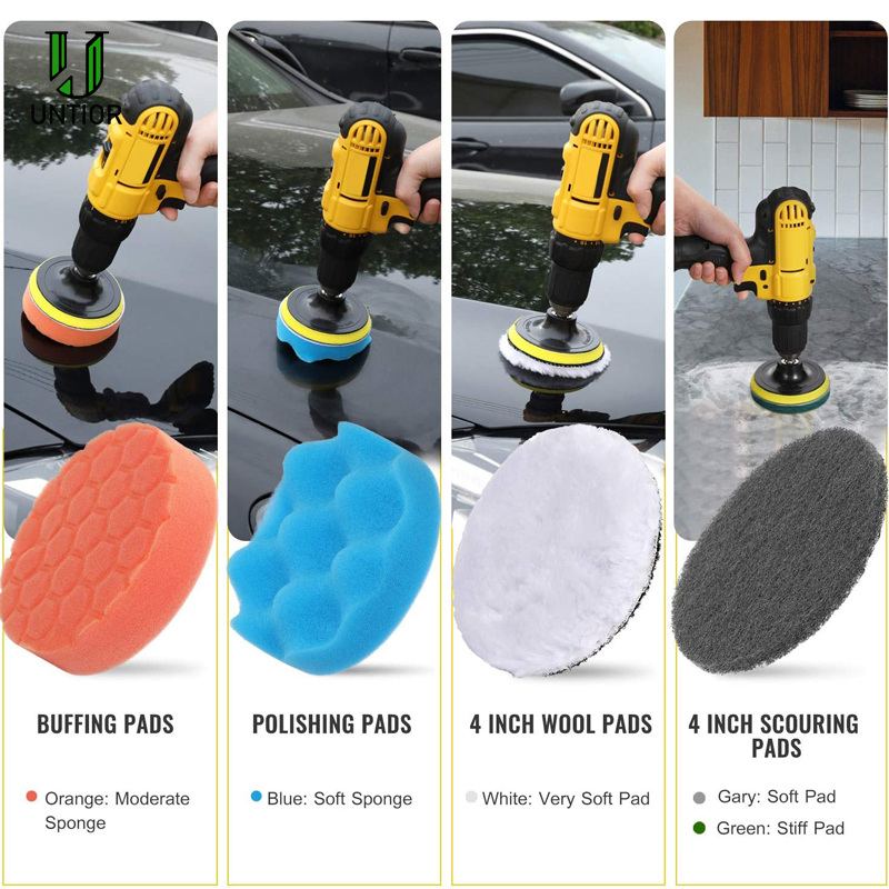 UNTIOR Drill Brush Attachment Set Power Scrubber Brush Car Polisher Bathroom Cleaning Kit with Extender Kitchen Cleaning Tools