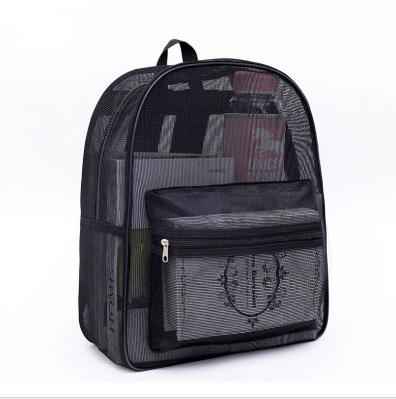 Men Women Kid Clear Mesh Backpack Transparent See Through Large Lightweight Bag See Through Mesh Backpack School Bag