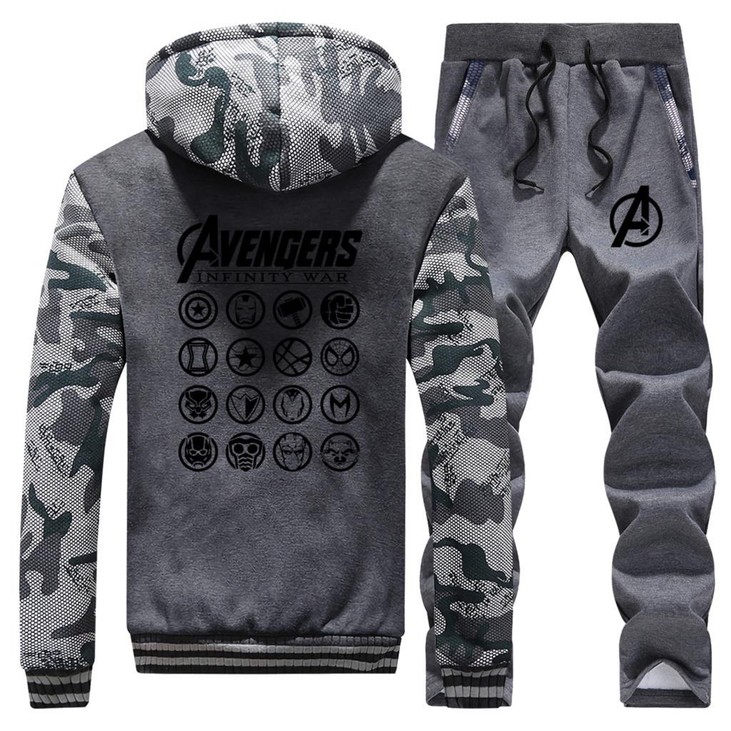 The Avengers Latest Endgame Hoodies Men's Camouflage Sweatshirt Winter Fleece Warm Coat Men Fashion Jacket+Pants 2 Piece Sets
