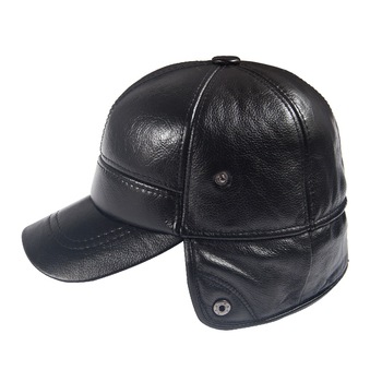 Men Winter Leather Hat Real Fur Hat Cowhide Baseball Cap Bomber Hats Russian Hat Men Dad Father Thick Tab Luxury Winter Caps 5