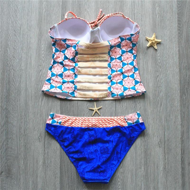 2020 Female Sexy Swimsuit Tankini Corset Top Biquini Thong Swim Wear Bathing Suit Swimwear Women Brazilian Push Up Bikini Set 2